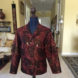 Chico's Glamorous Gold Lame' Red Brown Jacket